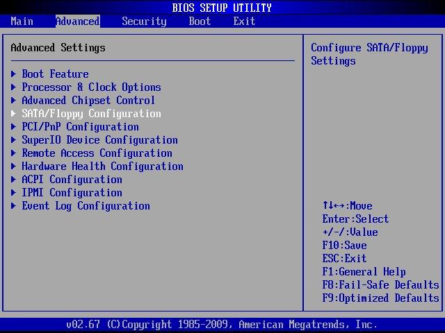 sata-floppy configuration
